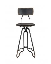 Stołek barowy obrotowy Ovid 1500044 czarny metalowy hoker industrialny Dutchbone