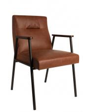 Fotel brązowy retro Fez 1200111 stylizowany fotel z drewnianymi nogami Dutchbone