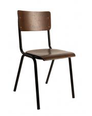 Krzesło w stylu PRL ciemnobrązowe Scuola 1100239 krzesło do jadalni Dutchbone