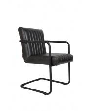 Fotel czarny w stylu retro Stitched 1200118 Dutchbone