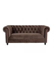 Sofa aksamitna w kolorze ciemnego brązu Chester Velvet 3200135 mebel wypoczynkowy do salonu Dutchbone