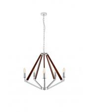 OUTLET Lampa wisząca żyrandol Nez 5 10492518 oprawa wisząca chrom/orzech Kaspa