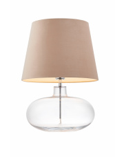 Lampa stołowa Sawa Velvet 41010107 KASPA nowoczesna oprawa z beżowym abażurem
