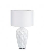 OFERTA MAGAZYNOWA Lampa stołowa ANGELA 106890 Markslojd klasyczna ceramiczna biała lampka z materiałowym abażurem