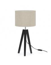Lampa stołowa Lunden 107944 Markslojd czarna oprawa z abażurem w kolorze lnu