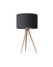 Lampa stołowa TRIPOD WOOD BLACK 5200008 Zuiver lampka stołowa na metalowym trójnogu stylizowanym na drewno z czarnym abażurem