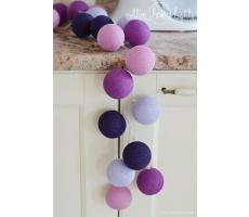 Kompozycja kolorowych kul Violets Cotton Ball Lights