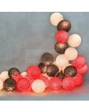 Kompozycja kolorowych kul Warm red Cotton Ball Lights