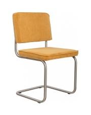 Krzesło RIDGE BRUSHED RIB YELLOW 24A 1100087 Zuiver satynowa rama żółta sztruksowa tapicerka