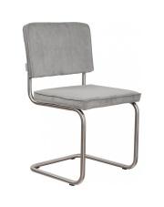 Krzesło RIDGE BRUSHED RIB COOL GREY 32A 1100089 Zuiver satynowa rama jasnoszara sztruksowa tapicerka