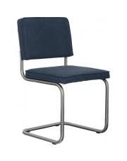 Krzesło RIDGE BRUSHED VINTAGE SAILOR BLUE 11 1100114 Zuiver satynowa rama bawełniana tapicerka w kolorze niebieskim w odcieniu vintage sailor