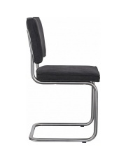 Krzesło RIDGE BRUSHED VINTAGE CHARCOAL 16 1100116 Zuiver satynowa rama antracytowa bawełniana tapicerka