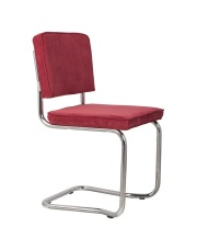 Krzesło RIDGE KINK RIB RED 21A 1100056 Zuiver wygięta chromowa rama czerwona sztruksowa tapicerka