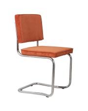 Krzesło RIDGE KINK RIB ORANGE 19A 1100057 Zuiver wygięta chromowa rama pomarańczowa sztruksowa tapicerka