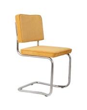 Krzesło RIDGE KINK RIB YELLOW 24A 1100064 Zuiver wygięta chromowa rama żółta sztruksowa tapicerka