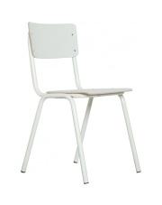 Krzesło BACK TO SCHOOL HPL WHITE 1008202 Zuiver białe krzesło na stalowej ramie