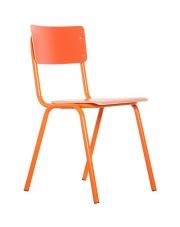 Krzesło BACK TO SCHOOL HPL ORANGE 1008204 Zuiver pomarańczowe krzesło na stalowej ramie