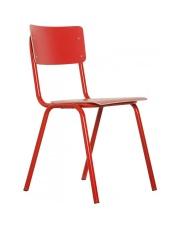 Krzesło BACK TO SCHOOL HPL RED 1008207 Zuiver czerwone krzesło na stalowej ramie