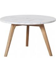 Stół WHITE STONE L 2300008 Zuiver duży okrągły stolik z włoskiego marmuru na dębowych nogach