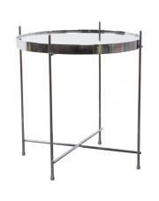 Stół CUPID SILVER 2300039 Zuiver okrągły srebrny stolik z lustrzanym blatem