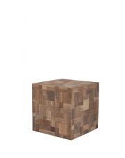 Stół MOSAIC 2400002 Zuiver sześcienny stolik wykonany z przetworzonego drewna tekowego oraz akacjowego