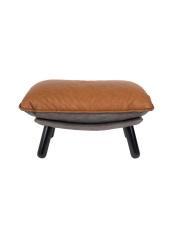 Podnóżek LAZY SACK 3300024 Zuiver skórzany luksusowy podnóżek na drewnianych nogach