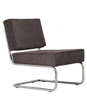 Krzesło RIDGE LOUNGE RIB GREY 6A 3100009 Zuiver głębokie szare krzesło na chromowej ramie bez podłokietników