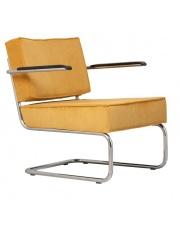 Krzesło RIDGE LOUNGE RIB ARM YELLOW 24A 3100019 Zuiver głębokie żółte krzesło na chromowej ramie z podłokietnikami
