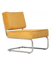 Krzesło RIDGE LOUNGE RIB YELLOW 24A 3100013 Zuiver głębokie żółte krzesło na chromowej ramie bez podłokietników
