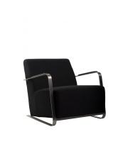 Fotel ADWIN FELT BLACK 3003004 Zuiver czarny designerski fotel z nierdzewnymi podłokietnikami pokrytymi sztuczną skórą
